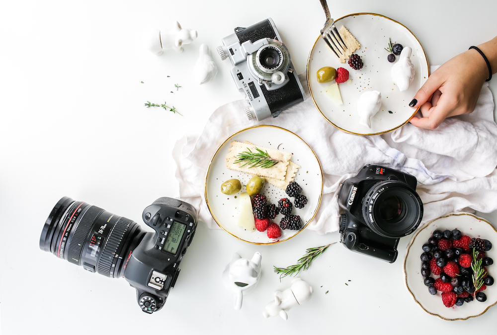 Beautiful food with cameras