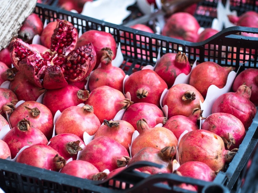 Pomegranates before they're made into pomegranate molasses