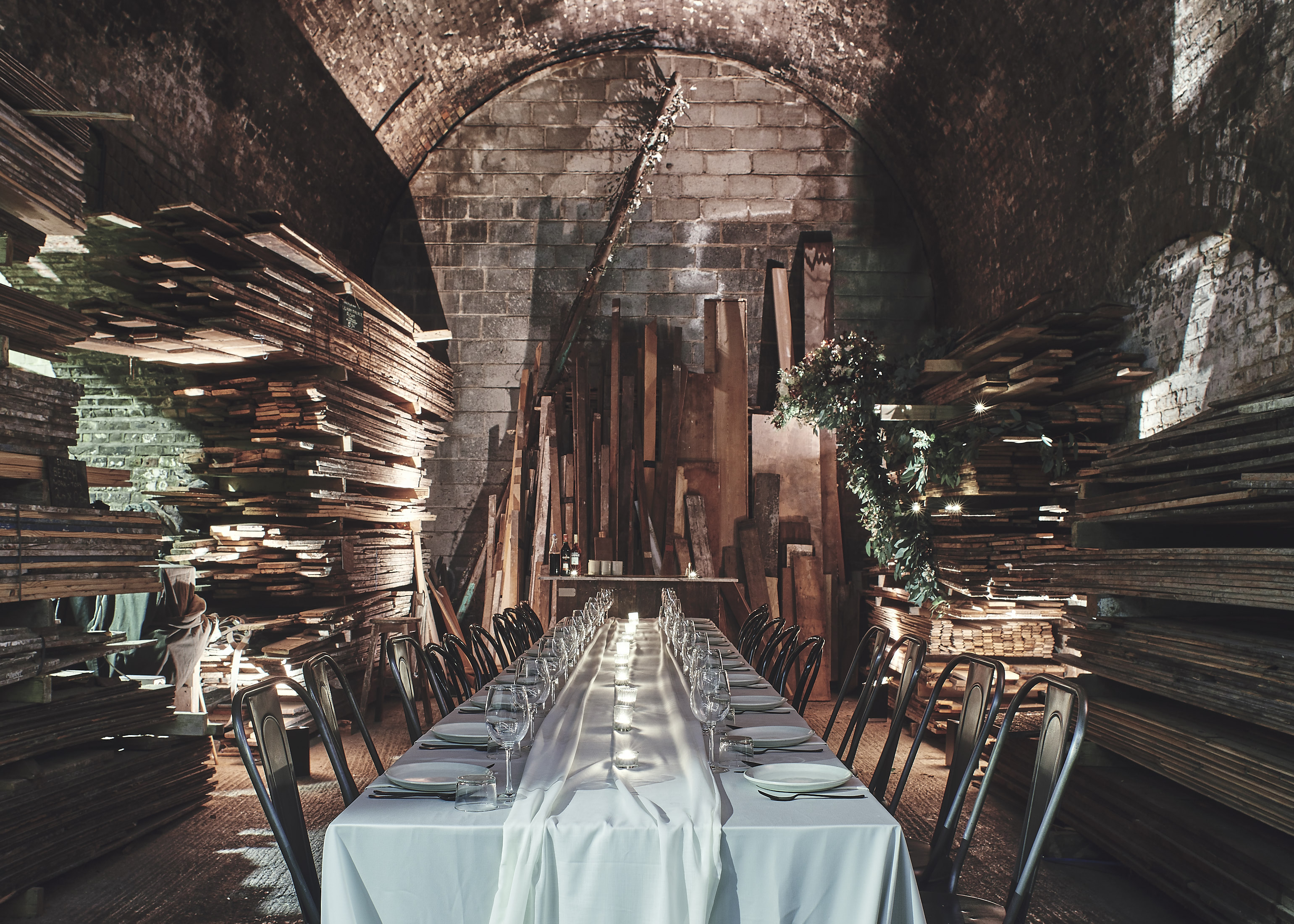 The Maltby Arch where guests will be seated for the supper club.(Credit LASSCO Ropewalk & Styling: Lucy Franks)