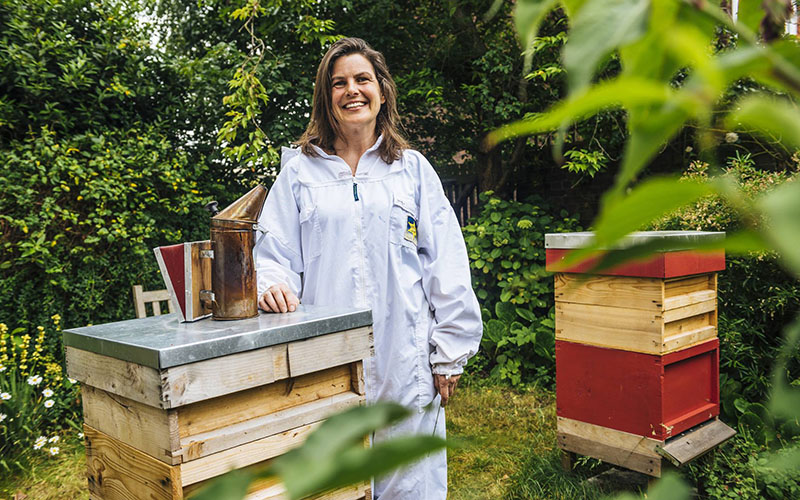 Emily Abbott of Hive & Keeper with her honey bees