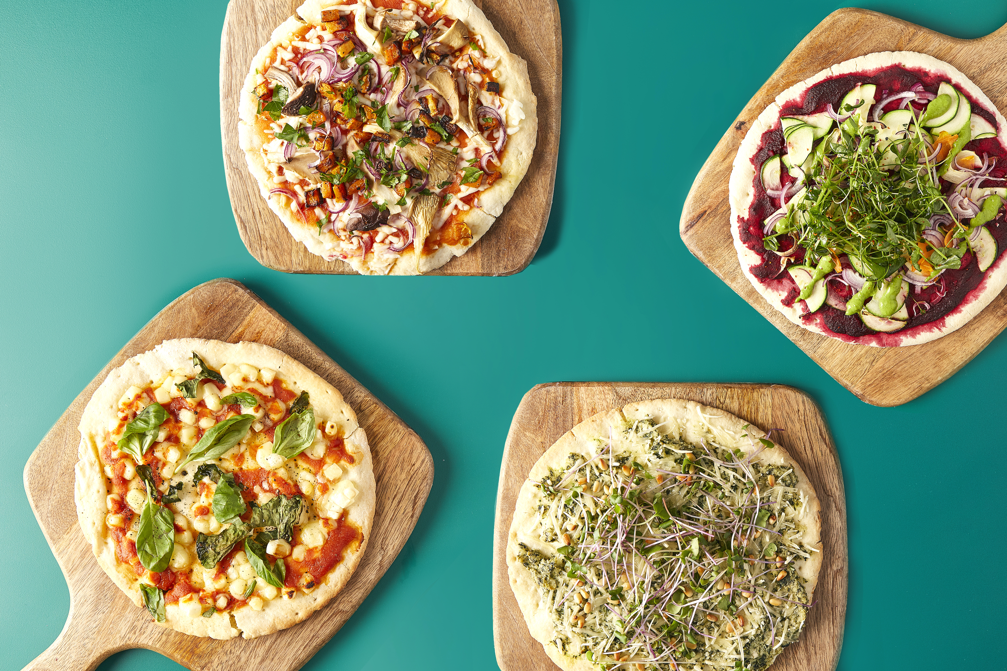 4 Vegan Pizzas with Various Toppings