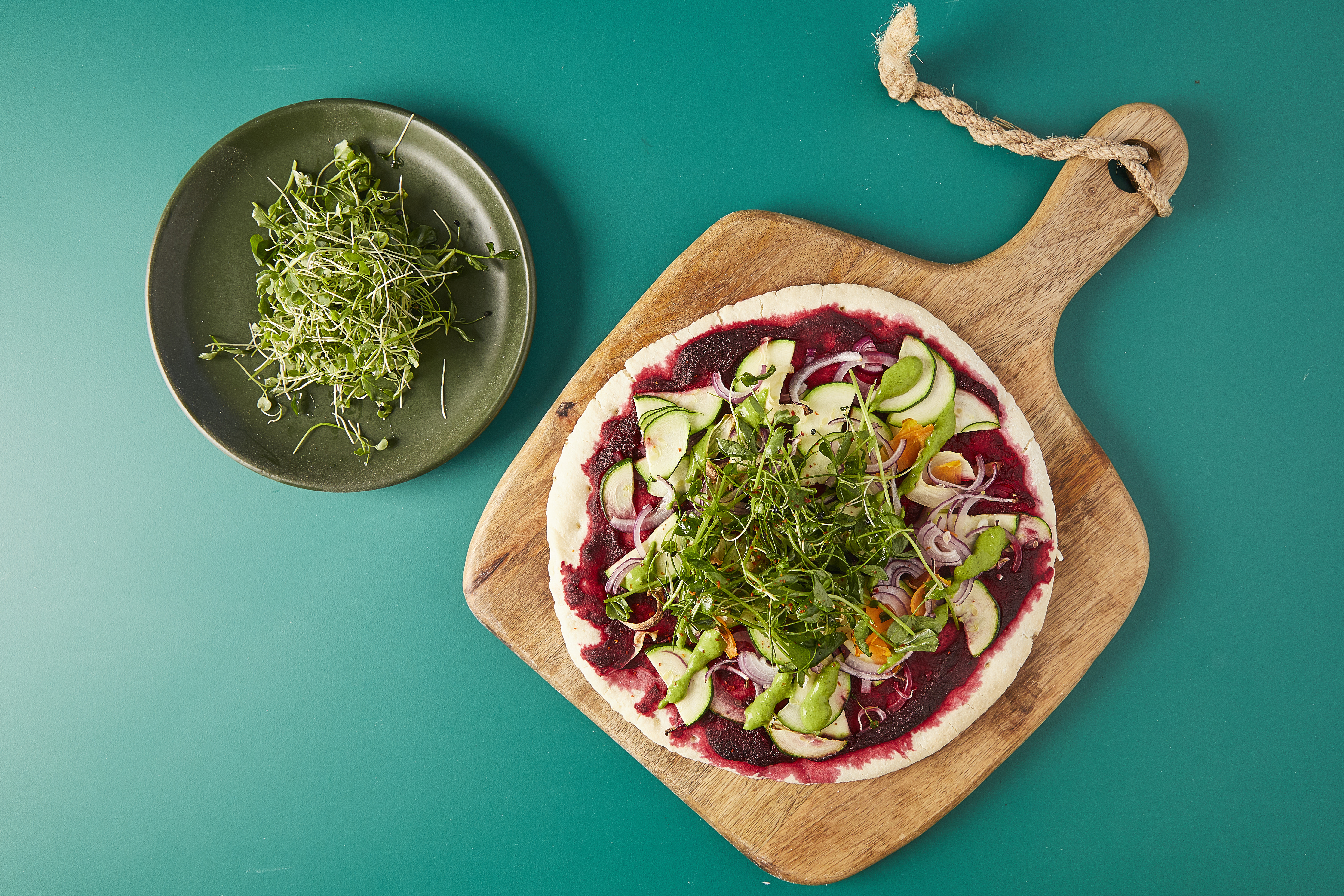 Interesting Vegan Pizza with Beetroot Base