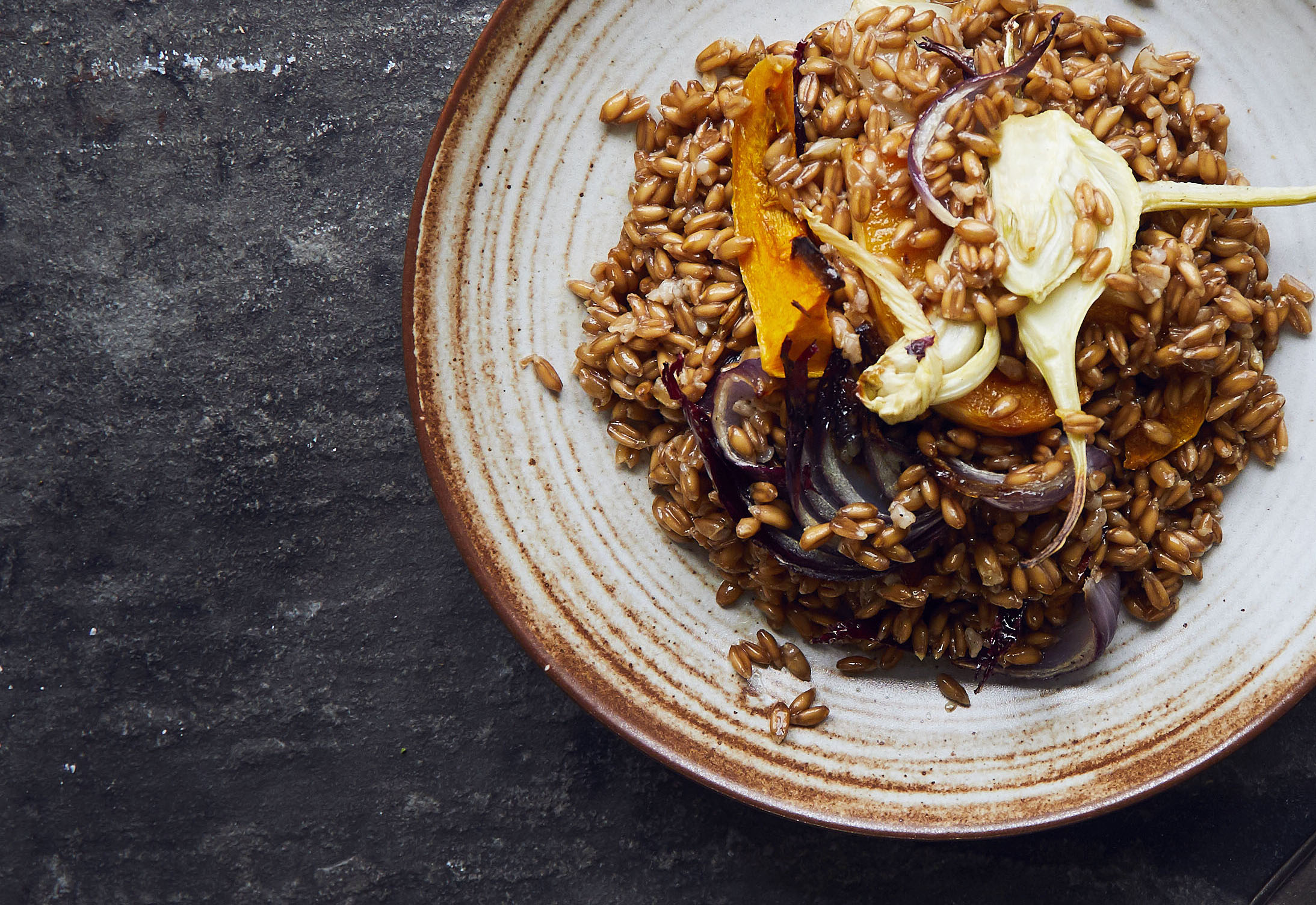 Warm Spelt salad with fennel